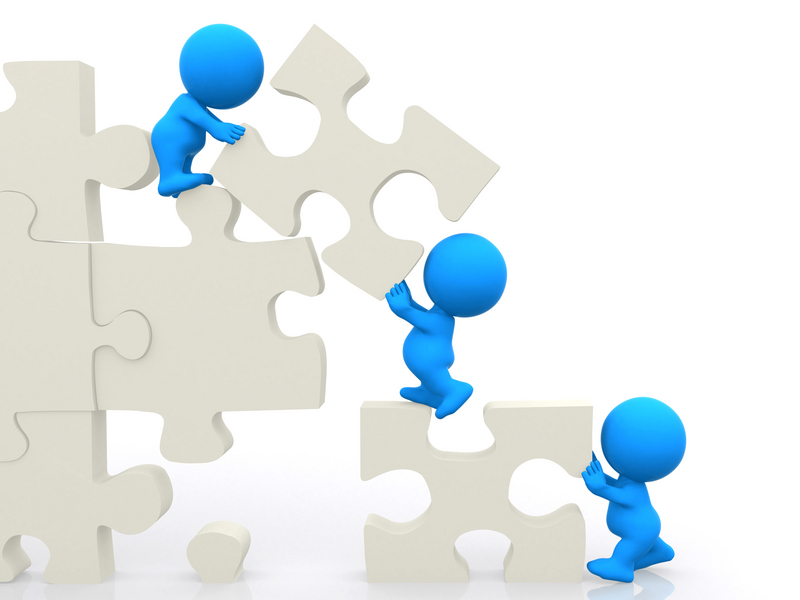 ۳D men assembling puzzle isolated over white