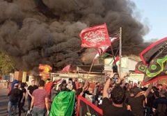 درپی بی حرمتی به ایام سوگواری؛ عراقیهای خشمگین دفتر شبکه تلویزیونی دجله را به آتش کشیدند+عکس